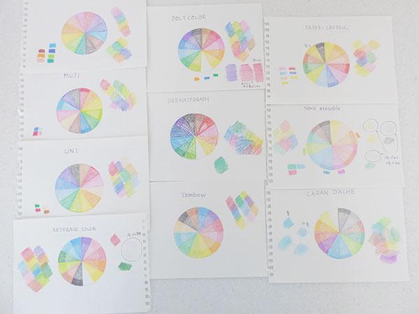 色鉛筆10種類の比較